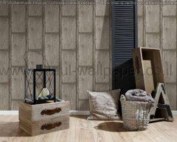טפטים לחדרי עבודה משרדים וסלון, טפט דמוי עץ רחב בצבע חום אפור