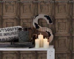 טפטים לחדרי עבודה משרדים וסלון, טפט ריבועים דמוי עץ חום כהה