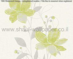 טפטים לסלון פינות אוכל ולחלל הבית טפט פרחים מטפסים לבן וירוק