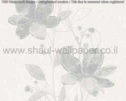 טפטים לסלון פינות אוכל ולחלל הבית טפט פרחים מטפסים לבן אפור וכסף