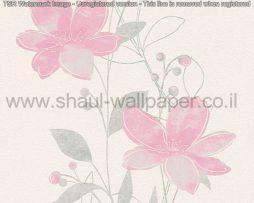טפטים לסלון פינות אוכל ולחלל הבית טפט פרחים מטפסים לבן אפור וורוד