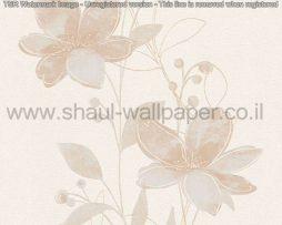 טפטים לסלון פינות אוכל ולחלל הבית טפט פרחים מטפסים לבן שמנת ופנינה