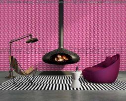 טפטים לסלון, למטבח ולחדרי שינה טפט צורות בולטות צבעים ורוד וסגול