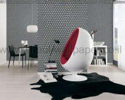 טפטים לסלון, למטבח ולחדרי שינה טפט תלת מימד עיגולים בצבע אפור לבן