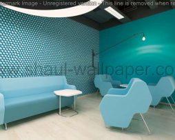 טפטים לסלון, למטבח ולחדרי שינה טפט תלת מימד עיגולים בצבע טורקיז לבן