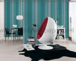 טפטים לסלון, למטבח ולחדרי שינה טפט תלת מיימד ריבועים בגוון טורקיז