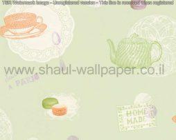 טפטים לקיר ולמטבח, טפט איורים כלי מטבח ועוגיות בגווני ירוק