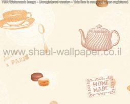 טפטים לקיר ולמטבח, טפט איורים כלי מטבח ועוגיות בגווני שמנת