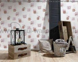 טפטים לקיר ולמטבח,טפט שמנת איורים וכתוביות בגווני חום