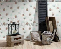 טפטים לקיר ולמטבח,טפט לבן איורים וכתוביות בחום ותכלת