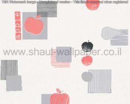 טפטים לקיר ולמטבח, טפט רקע לבן איורים תפוחים שחור אדום ואפור