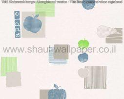 טפטים לקיר ולמטבח, טפט רקע לבן איורים תפוחים כחול אפור וירוק