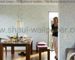 טפטים לסלון חדרי שינה ולחלל הבית טפט גובלן פרחים וסלסולים לבן ותכלת