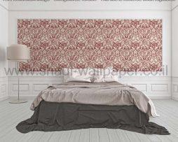 טפטים לסלון חדרי שינה ולחלל הבית טפט גובלן פרחים וסלסולים לבן ובורדו