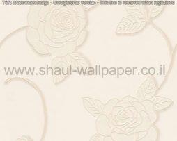 טפטים לסלון חדרי שינה ולחלל הבית טפט פרחים גדולים לבן שמנת נצנצים