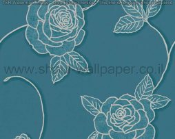 טפטים לסלון חדרי שינה ולחלל הבית טפט פרחים גדולים טורקיז אפור נצנצים