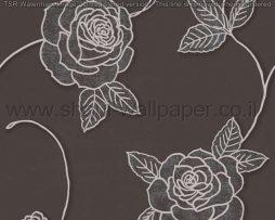 טפטים לסלון חדרי שינה ולחלל הבית טפט פרחים גדולים שחור אפור ונצנצים