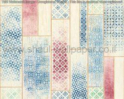 טפטים לחלל הבית,טפט דמוי עץ בשילוב צבעים אדום וכחול