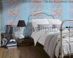טפטים לסלון, טפטים לחדרי שינה, טפט צדפות בים צבע כחול לבן וחום