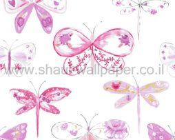 טפטים לחדרי ילדים, טפט פרפרים סגולים וורודים על רקע שמנת