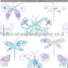 טפטים לחדרי ילדים, טפט פרפרים כחולים וורודים על רקע שמנת