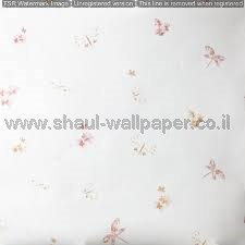 טפטים לחדרי ילדים, טפט פרחים ופרפרים רקע פנינה צבע ורוד כתום