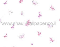 טפטים לחדרי ילדים, טפט פרחים ופרפרים רקע פנינה צבע ורוד