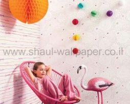 טפטים לילדים, טפטים לקיר, טפט פסים וכיתובים צבעוניים רקע לבן