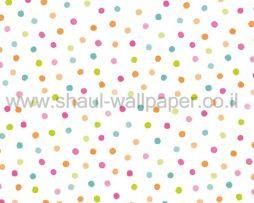 טפטים לילדים, טפטים לקיר, טפט נקודות צבעוניות על רקע לבן