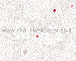 טפטים לילדים, טפטים לקיר, טפט פרחים ולבבות בצבע ורוד ואפור