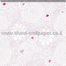 טפטים לילדים, טפטים לקיר, טפט פרחים ולבבות בצבע ורוד ולבן