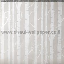 טפטים לילדים, טפטים לקיר, טפט עץ בצבע כסוף על רקע אפור