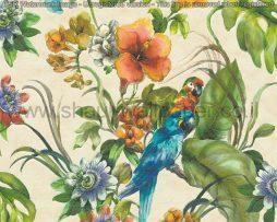 טפטים למטבח,פינות אוכל וחלל הבית טפט צבעוני פרחים וציפורים רקע שמנת