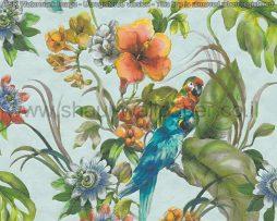 טפטים למטבח,פינות אוכל וחלל הבית טפט צבעוני פרחים וציפורים רקע תכלת