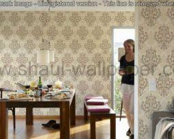 טפטים לסלון, טפטים לחדרי שינה טפט מדליונים זוהרים צבע שמנת וחום