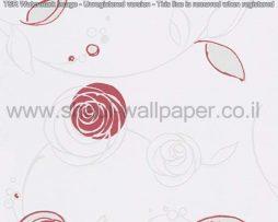 טפטים לחדרי שינה, טפטים לילדים, טפט דמוי פרחים עגולים צבע אפור אדום