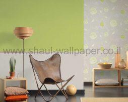 טפטים לחדרי שינה, טפטים לילדים, טפט דמוי פרחים עגולים צבע אפור ירוק