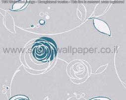 טפטים לחדרי שינה, טפטים לילדים, טפט דמוי פרחים עגולים צבע אפור כחול
