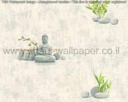 טפטים לספא,חדרי שינה וחלל הבית טפט אבן בשילוב חלוקי נחל ענפים ובודהה