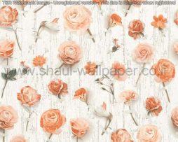 טפטים לסלון פינות אוכל ולחלל הבית טפט שלל פרחים בגווני כתום אפרסק