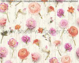 טפטים לסלון פינות אוכל ולחלל הבית טפט שלל פרחים ורוד סגול וכתום
