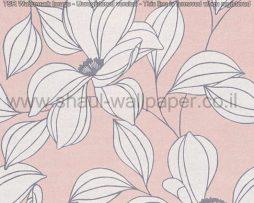 טפטים לסלון פינות אוכל ולחלל הבית טפט פרחים גדולים באפור לבן רקע ורוד