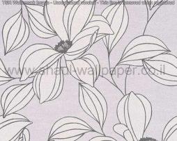 טפטים לסלון פינות אוכל ולחלל הבית טפט פרחים גדולים בשחור לבן רקע אפור