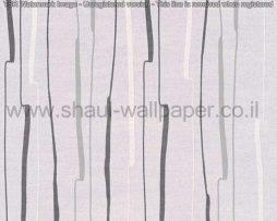 טפטים לסלון ולחלל הבית טפט פסים אסימטריים בגווני אפור לבן ושחור