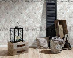 טפטים לסלון פינות אוכל ולחלל הבית טפט רקע לבן פרחים גדולים אפור וכסף