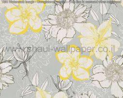 טפטים לסלון פינות אוכל ולחלל הבית טפט רקע אפור פרחים לבן צהוב וירוק זית