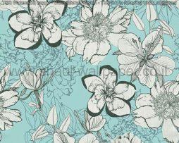 טפטים לסלון פינות אוכל ולחלל הבית טפט רקע תכלת פרחים לבן שחור וכסף