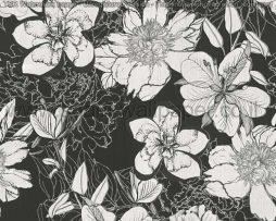 טפטים לסלון פינות אוכל ולחלל הבית טפט רקע שחור פרחים גדולים לבן ושחור