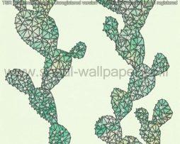 טפטים לסלון פינות אוכל ולחלל הבית טפט רקע ירוק איור קקטוס בגווני ירוק