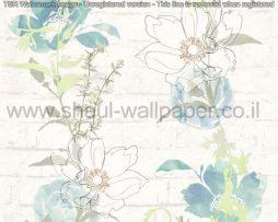 טפטים לסלון פינות אוכל ולחלל הבית טפט רקע לבנים פרחים ועלים בגווני ירוק